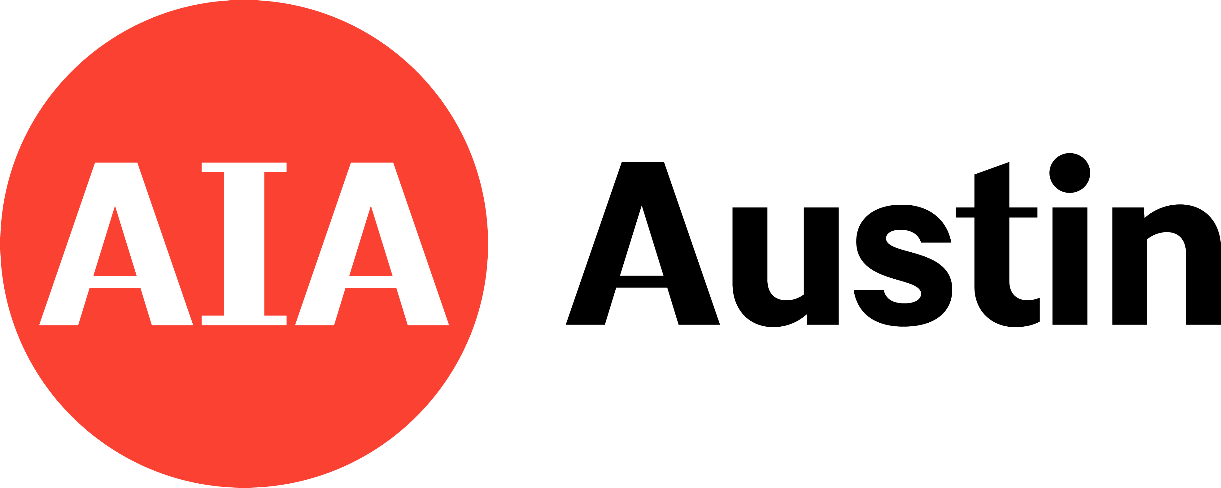 logo for AIA Austin, red circle with white letters AIA inside, and the word Austin in black